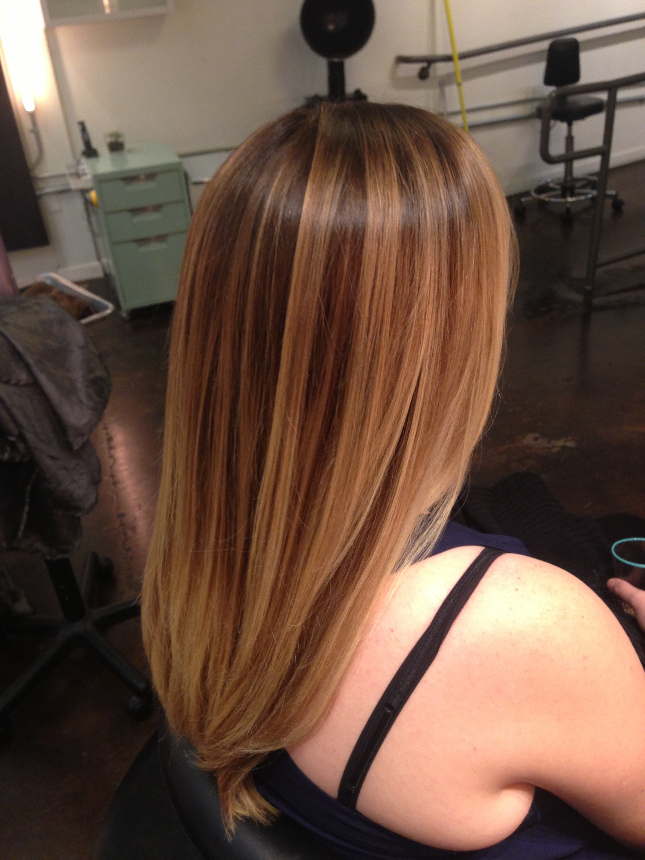 Carmel Brown Brunette Highlights Sun Kissed Natural Looking Color